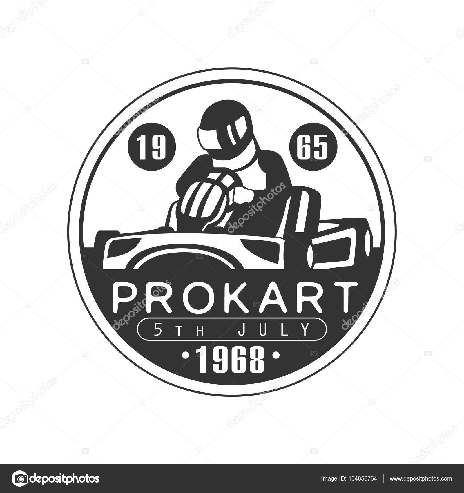 Design car club logo - Prokart Karting Club Black And White Logo Design Template With Rider In Kart Silhouette Monochrome Vector Promo Emblem With Text And Fast Car Print