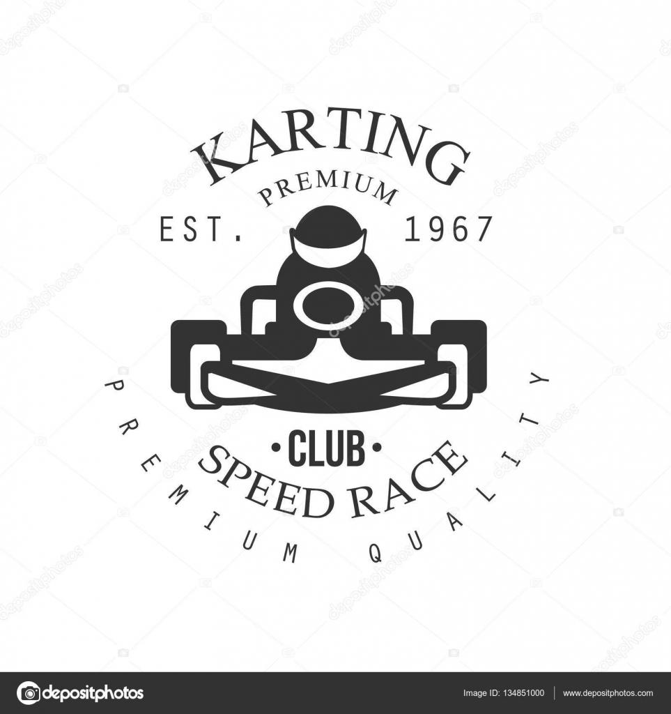 Premium calidad Karting Club y negro Logo plantilla de diseño con ...