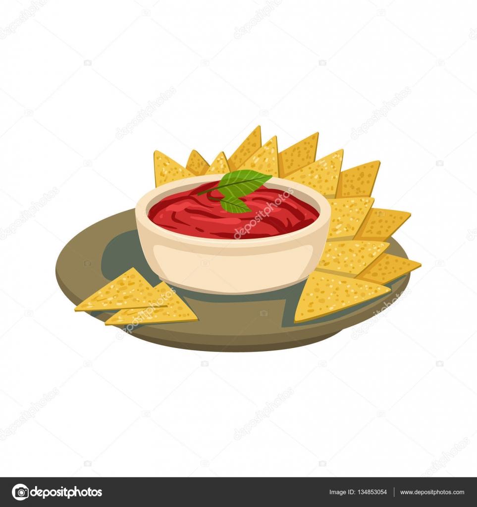 Nachos Chips, paradicsom Salsa hagyományos mexikói konyha edény ...