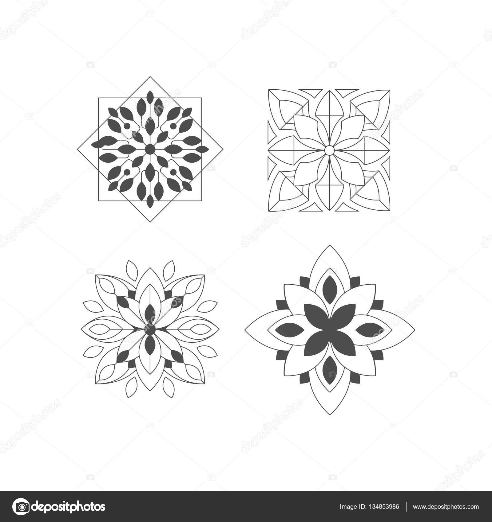 Forma regular cuatro doodle figuras ornamentales en for Formas ornamentales