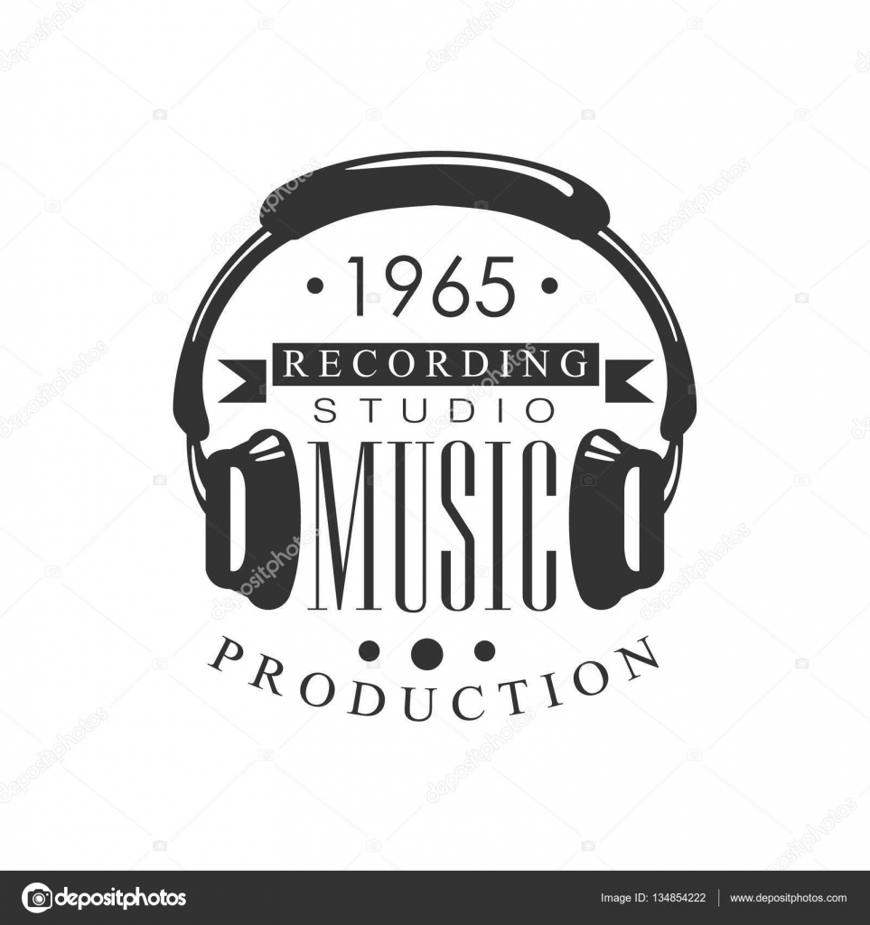 Music Record Studio Black And White Logo Template With ...