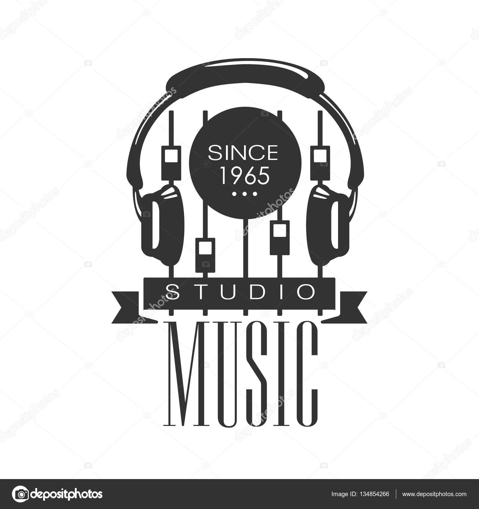 Music Record Studio Black And White Logo Template With Sound Recording Retro Headphones Console