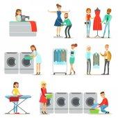 Lidé při praní prádla, čištění a krejčovské služby kolekce úsměvu kreslené postavičky