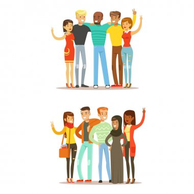 Young Friends From All Around The World And Happy International Friendship Vector Cartoon Illustration