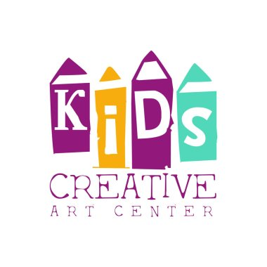 Kids Creative Class Template Promotional Logo With Pencils Symbols Of Art and Creativity