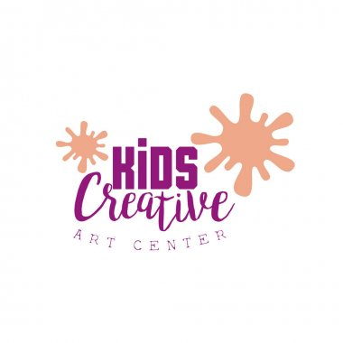 Kids Creative Class Template Promotional Logo With Paint Blobs, Symbols Of Art and Creativity. Children Artistic Development Center Colorful Promo Advertisement Sign With Text. clip art vector