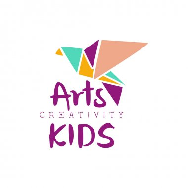 Kids Creative Class Template Promotional Logo With Origami Bir, Symbols Of Art and Creativity