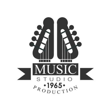 Music Record Studio Black And White Logo Template With Sound Recording Retro Guitar Pins. Musical Producing Label Vintage Monochrome Emblem With Text Vector Illustration. stock vector