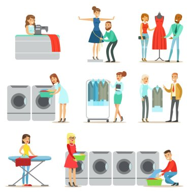 People At The Laundry, Dry Cleaning And Tailoring Service Collection Of Smiling Cartoon Characters. Men And Woman Washing Their Clothes In Washing Machines And Using Designer Help Vector Illustrations clip art vector
