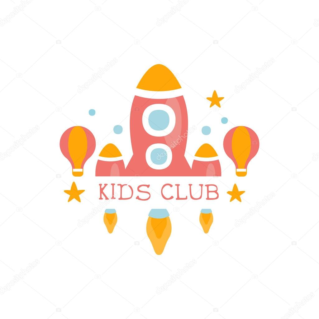 Kids Land Playground And Entertainment Club Colorful Promo Sign With Toy Rocket For The Playing Space For Children