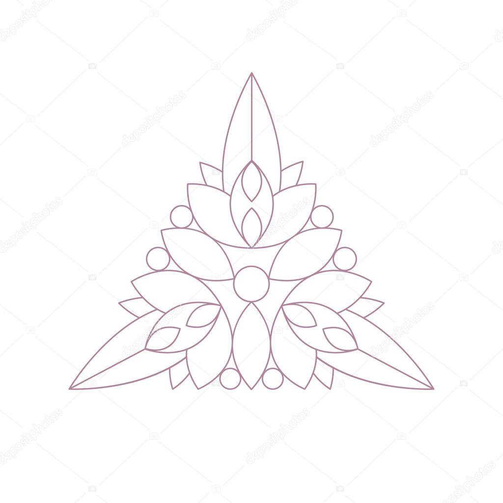 Forma del triángulo Doodle Ornamental figura en Color monocromo para ...