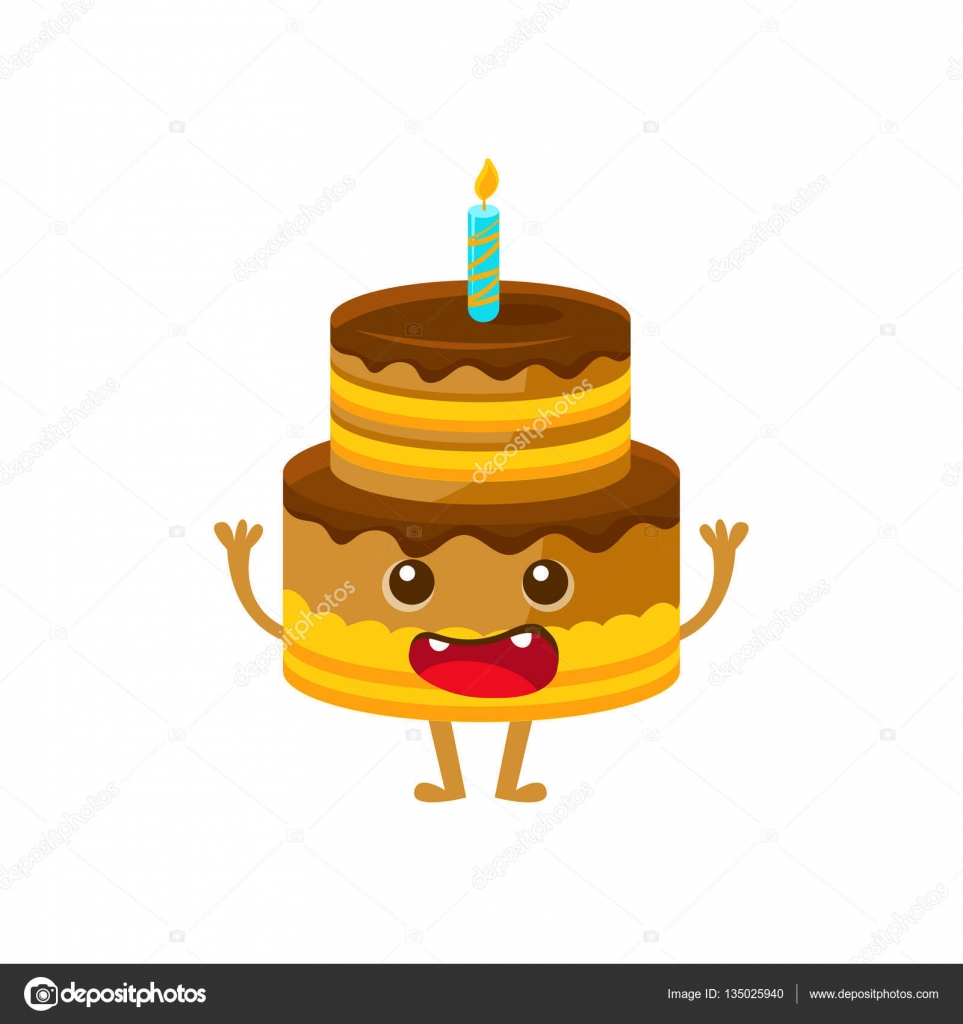 Chocolate Birthday Cake With Candle Happy Birthday And Celebration Party Symbol Cartoon Character Stock Vector C Topvectors 135025940