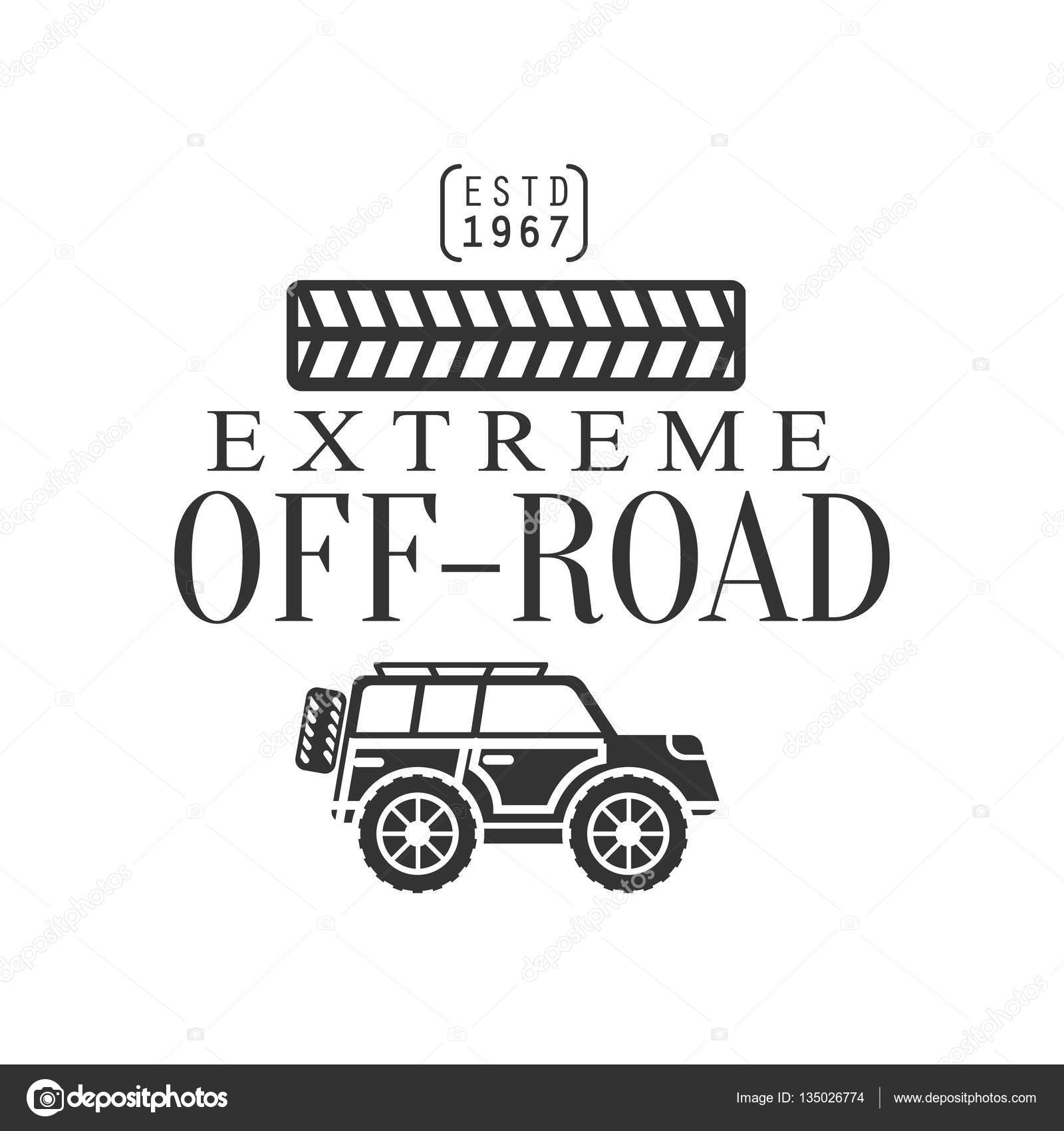 Off-Road Extreme Club And Rental Black And White Promo Label With ...