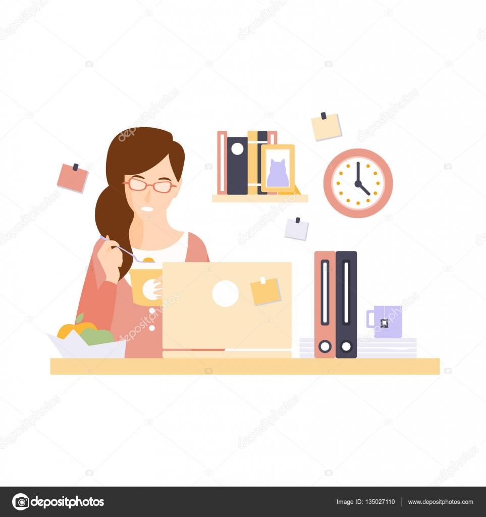 employ de bureau de femme manger d jeuner dans armoire de bureau ayant son personnage de dessin. Black Bedroom Furniture Sets. Home Design Ideas