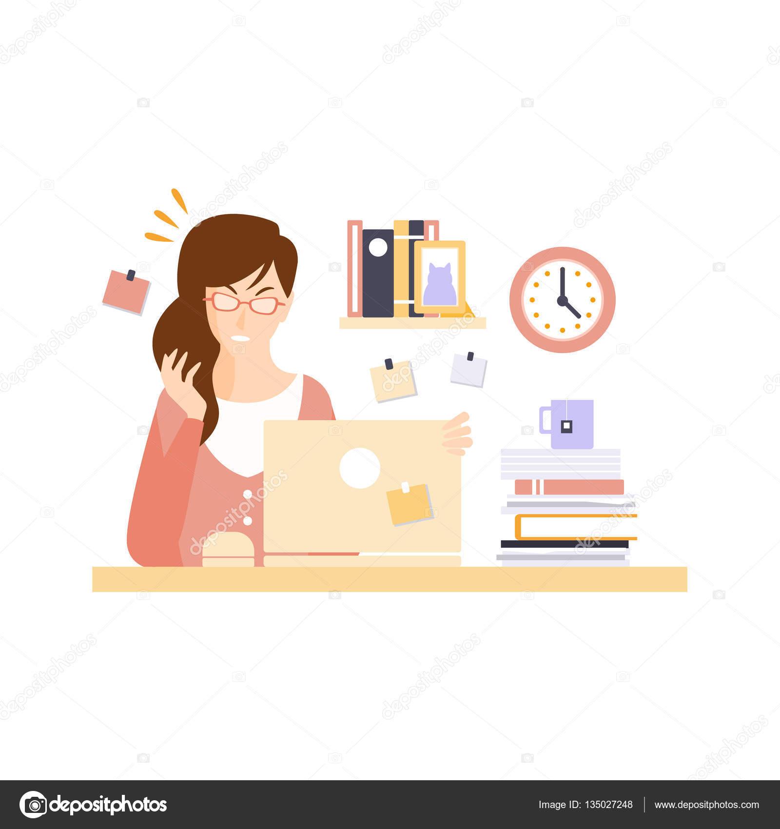 de bureau de femme en colre en cabine de bureau ayant son