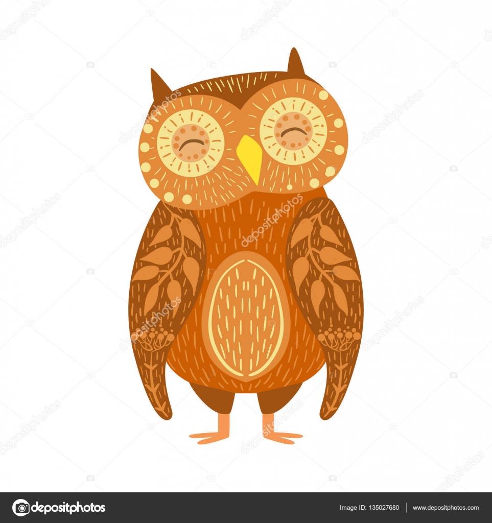 Chouette Dessin Stylisé chouette dessin animé détendue animal sauvage avec des yeux fermés