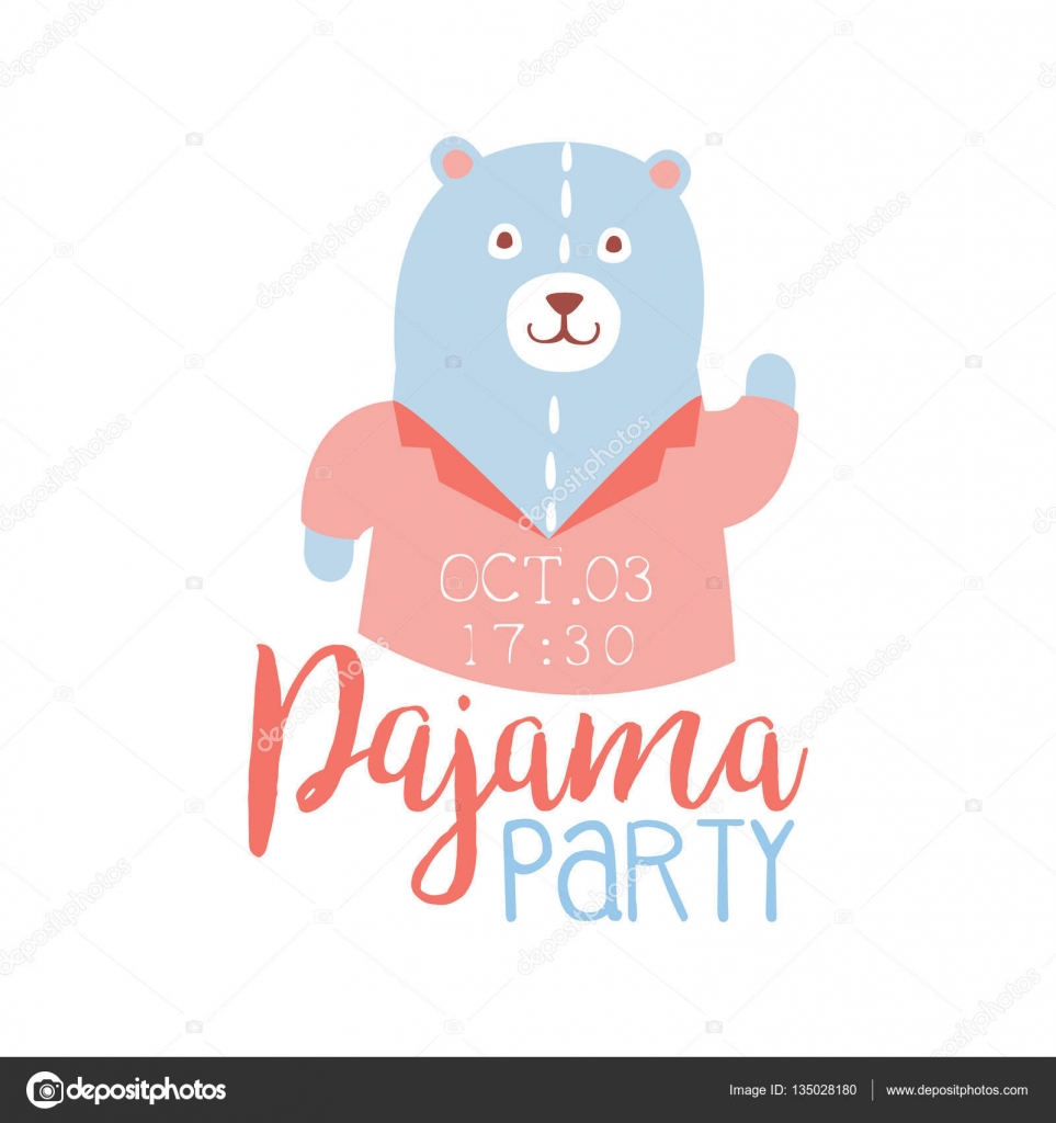 girly pajama party invitation card template with teddy bear inviting