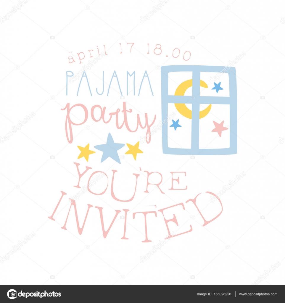 Pijama chica fiesta invitación tarjeta plantilla con ventana noche ...