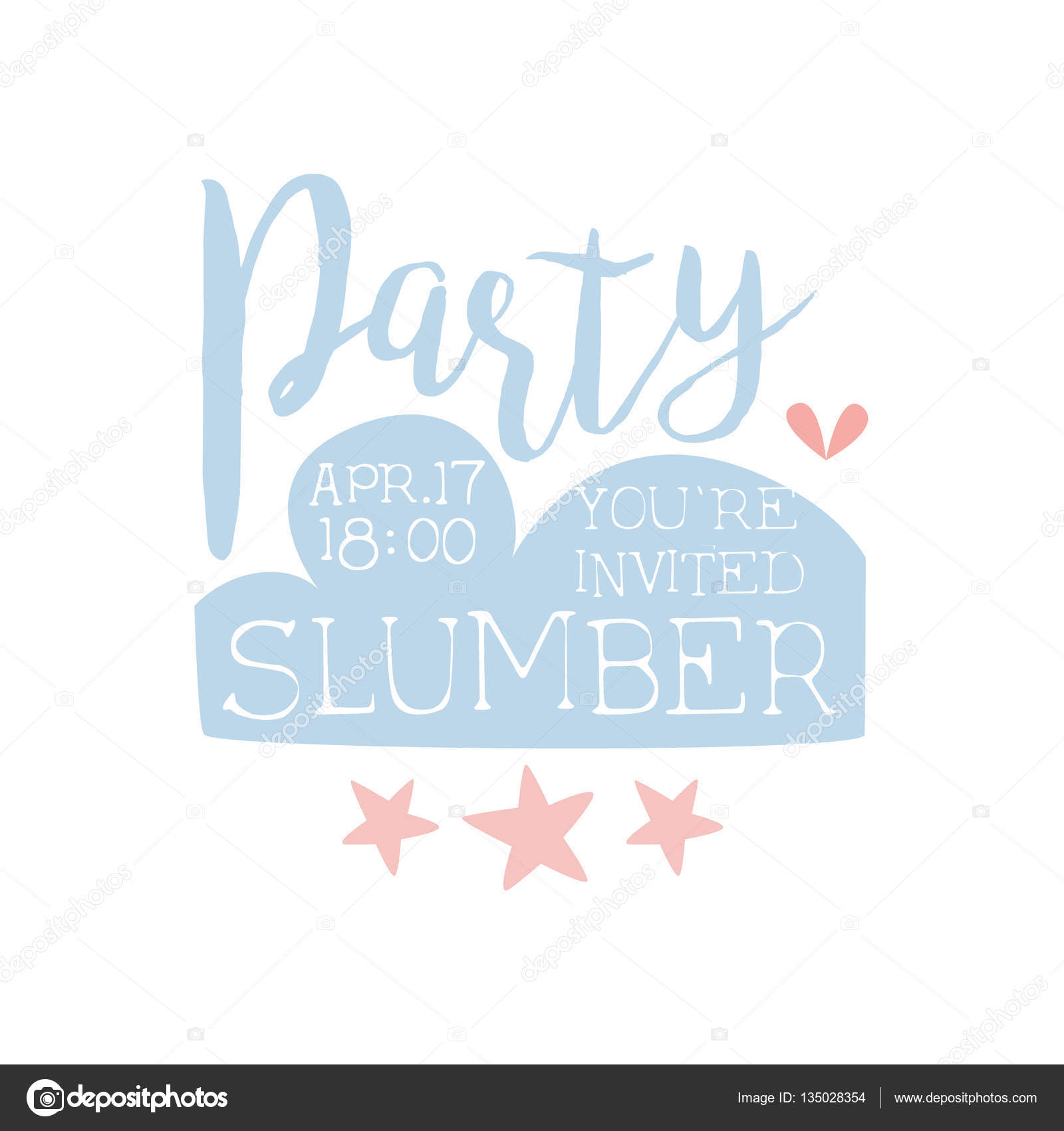 Girly Pajama Party Invitation Card Template With Stars Inviting Kids ...