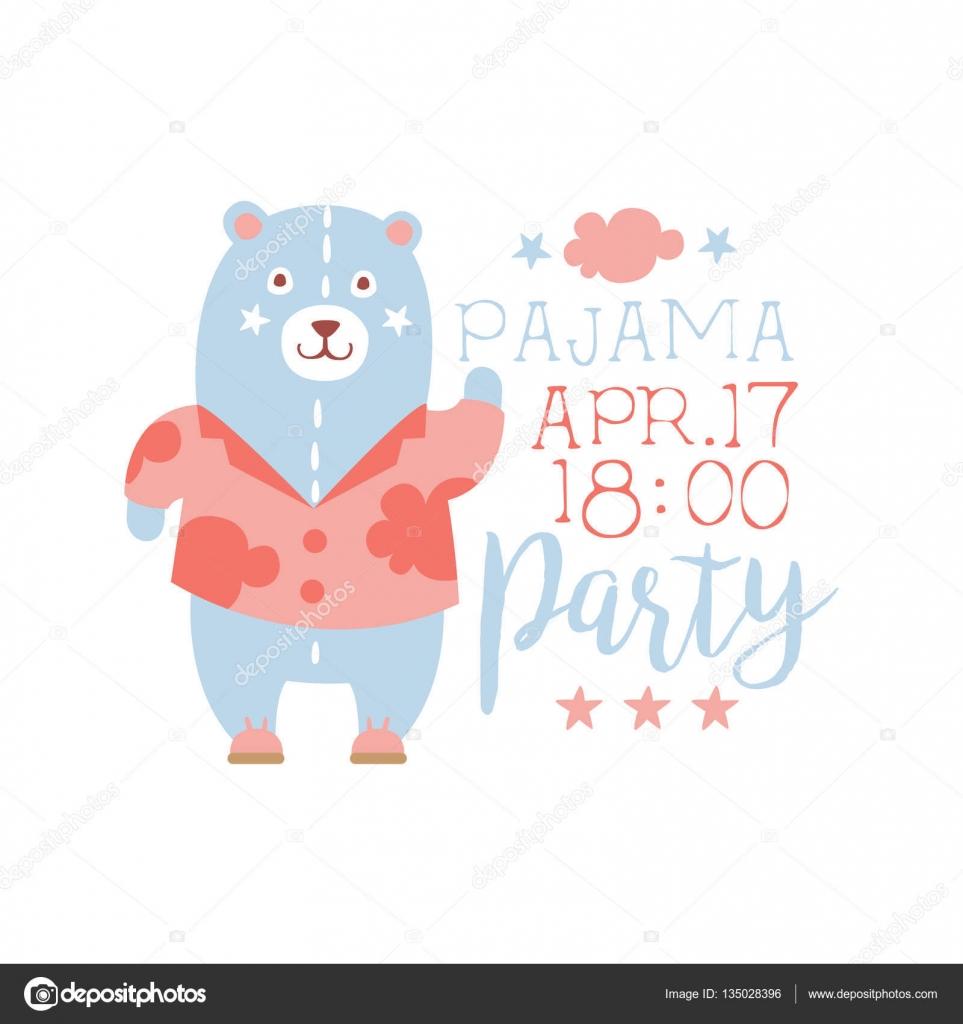 Pijama chica fiesta invitación tarjeta plantilla con oso de juguete ...