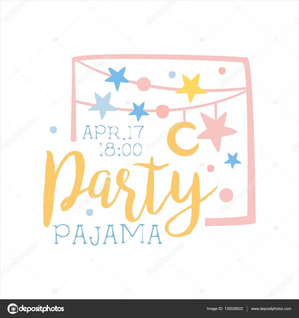 Pijama femenino plantilla de tarjeta de invitación fiesta con ...