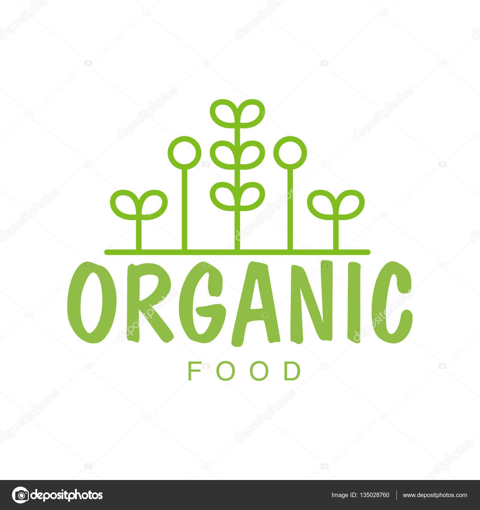 vegan natural food green logo design template with geometric plants