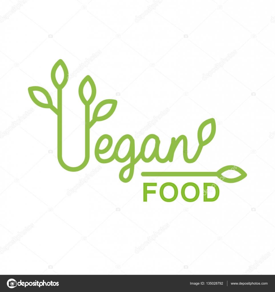 Plantilla de diseño de Logo verde vegano comida Natural con hojas ...