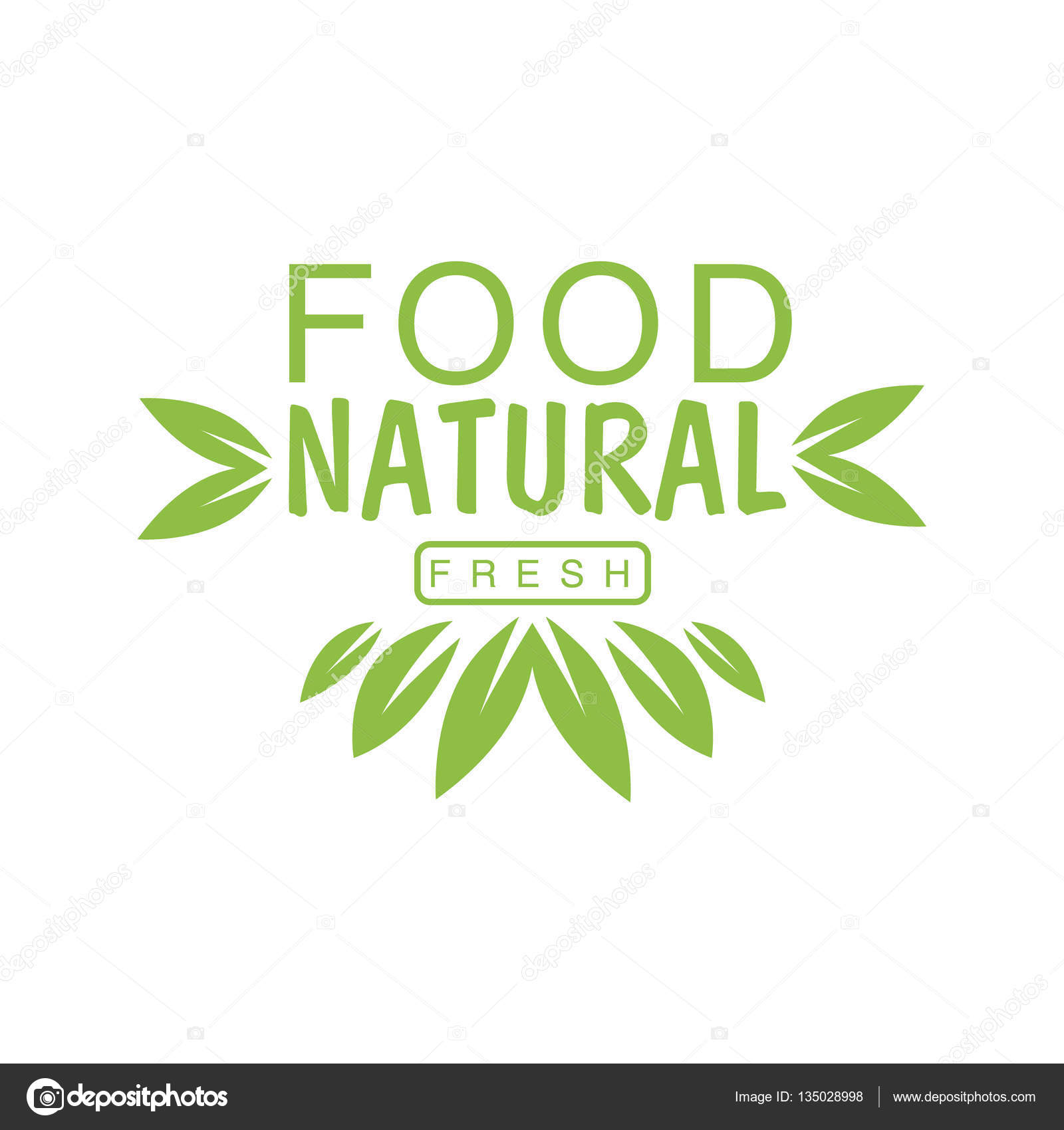 vegan natural food green logo design template with crown of leaves