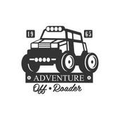 Adventure Off-Roader Extreme Club And Rental Black And White Promo Label Design Template