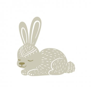 White Rabbit Relaxed Cartoon Wild Animal With Closed Eyes Decorated With Boho Hipster Style Floral Motives And Patterns