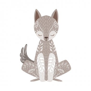 Wolf Relaxed Cartoon Wild Animal With Closed Eyes Decorated With Boho Hipster Style Floral Motives And Patterns