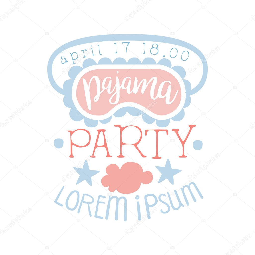 Girly Pajama Party Invitation Card Template With Sleeping Mask Inviting Kids For The Slumber Pyjama Overnight Sleepover