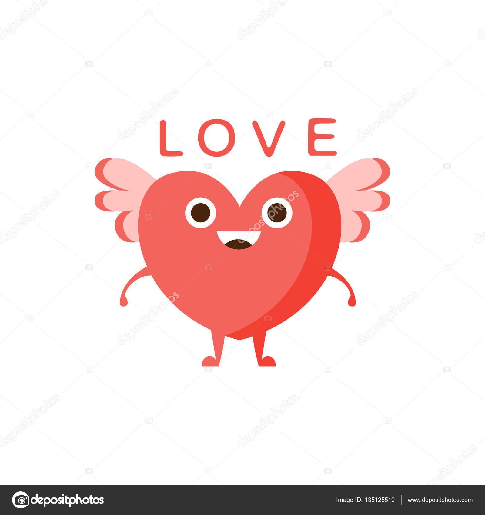 amour et coeur ail word et illustration correspondante emoji personnage dessin anim avec des yeux qui illustrent le texte illustration