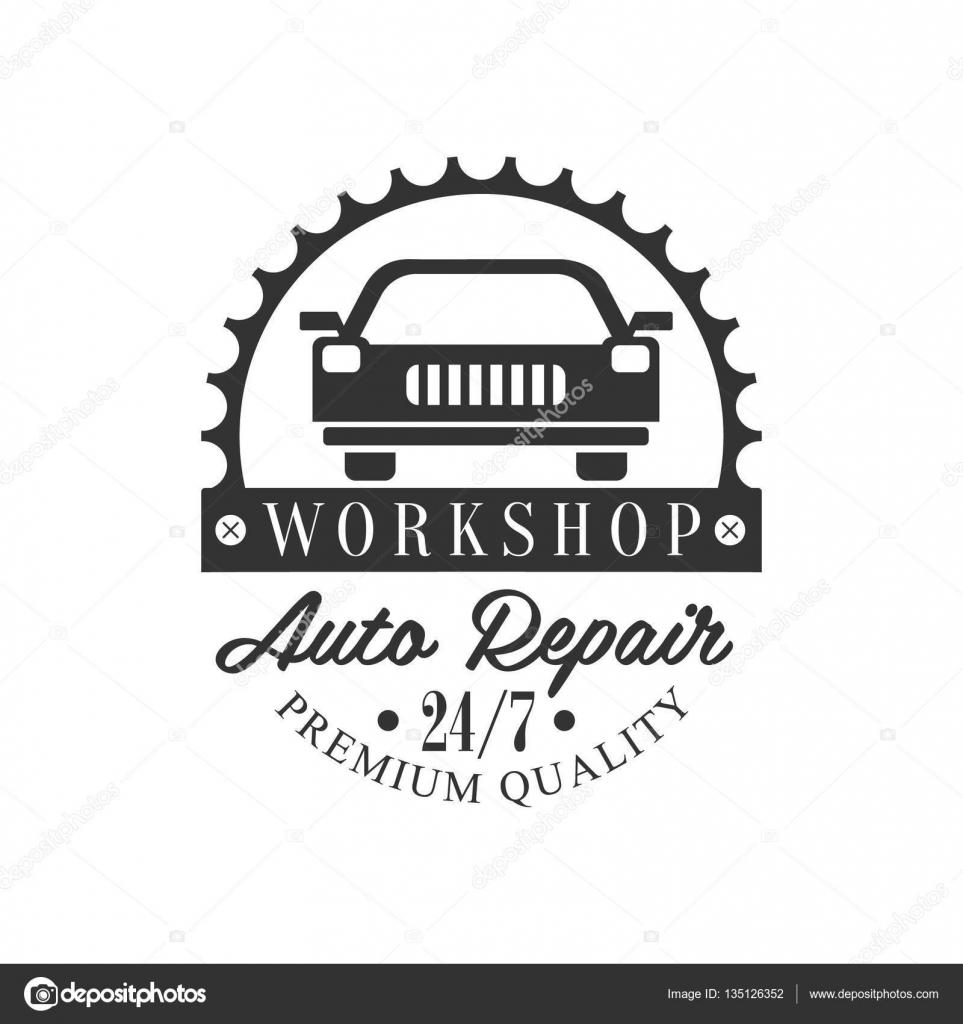 Plantilla de diseño de la etiqueta auto reparación taller blanco y ...