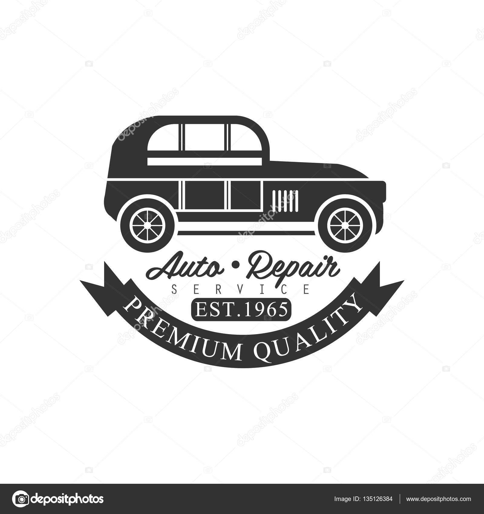 premium quality car repair workshop black and white label design