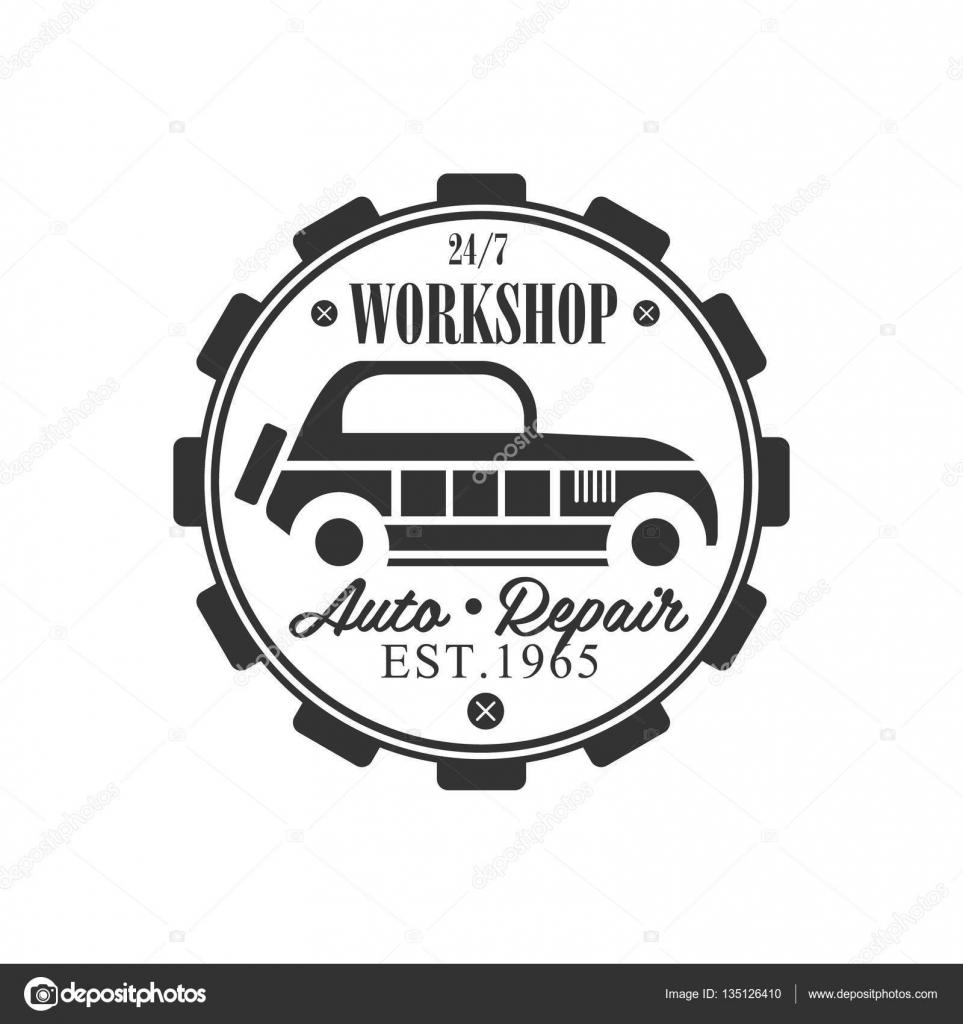 Design car repair workshop - Vintage Car Repair Workshop Black And White Label Design Template Stock Vector 135126410