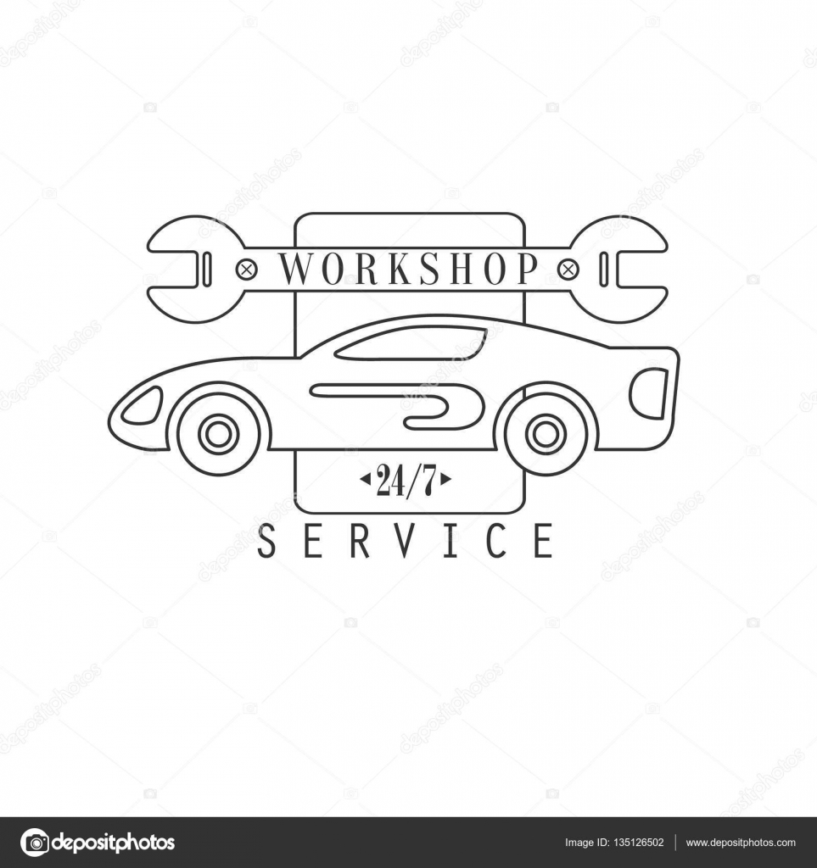 Plantilla de diseño de etiqueta reparación taller blanco y negro ...