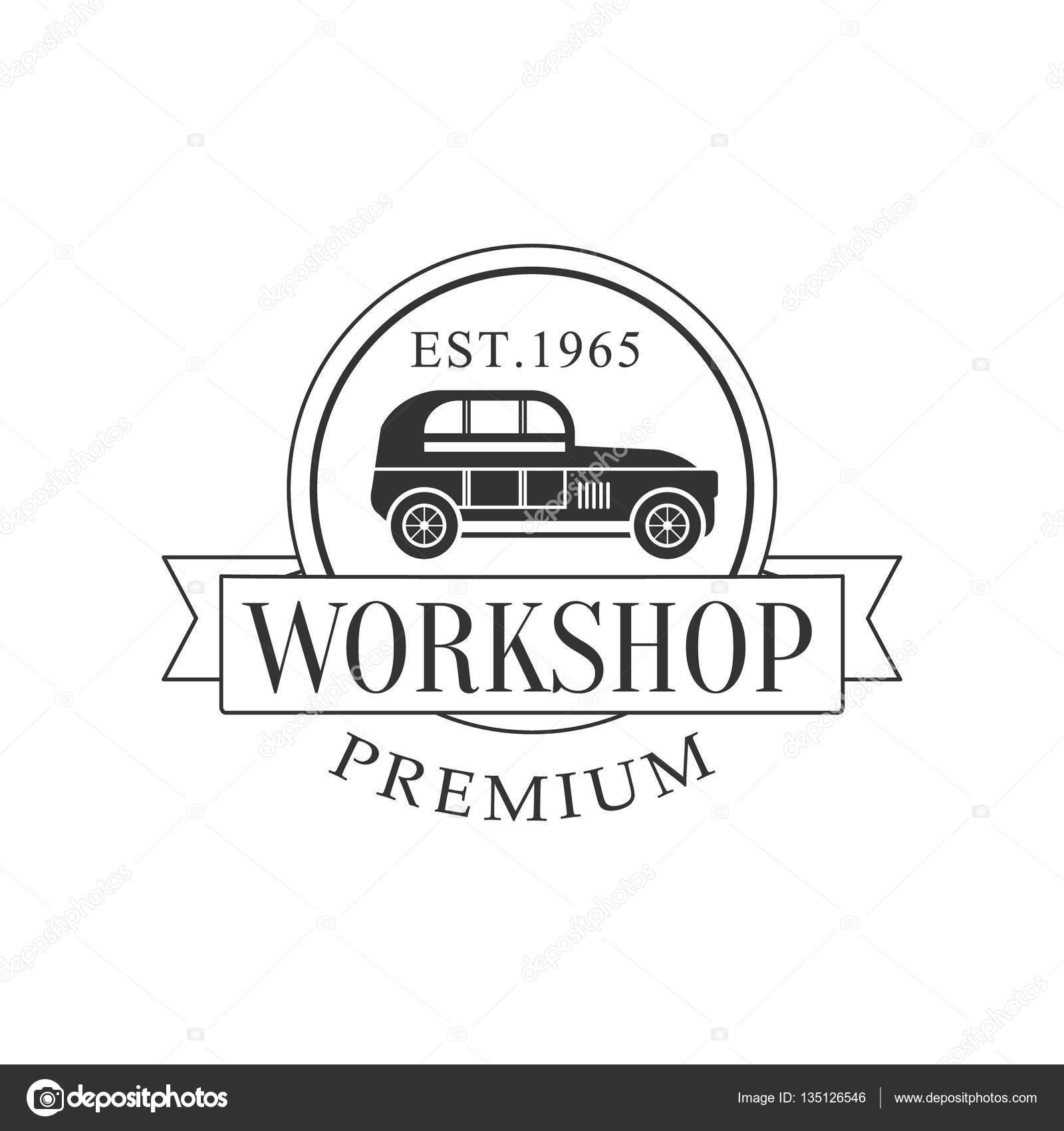 Retro-Auto Reparatur Werkstatt Black And White Label Design-Vorlage ...