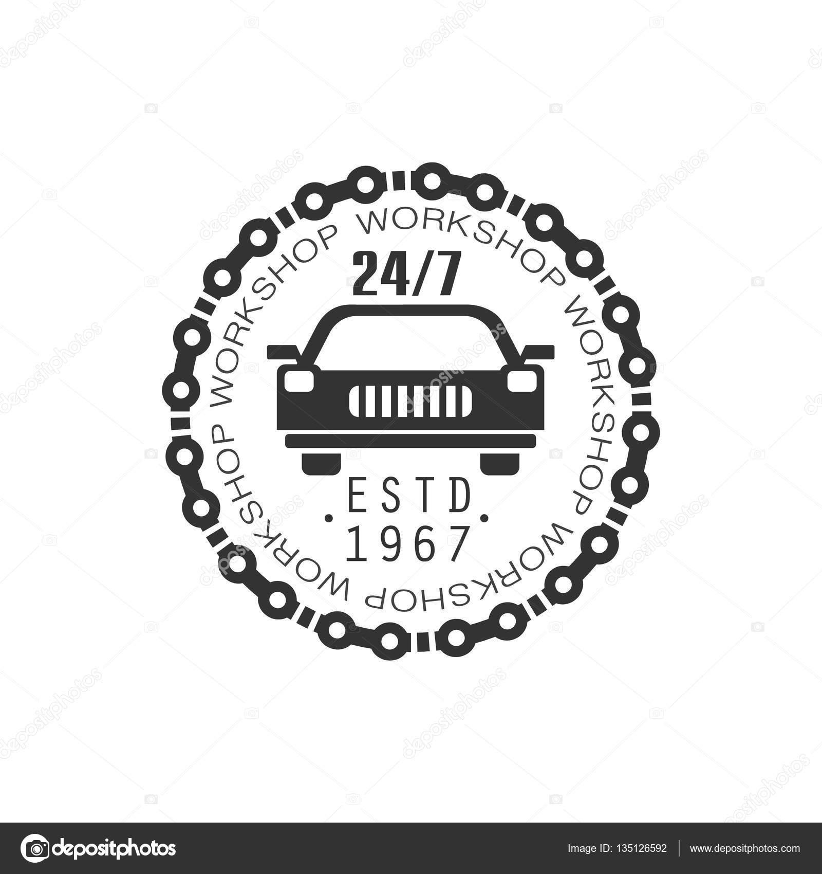 Design car repair workshop - Round The Clock Car Repair Workshop Black And White Label Design Template Stock Vector