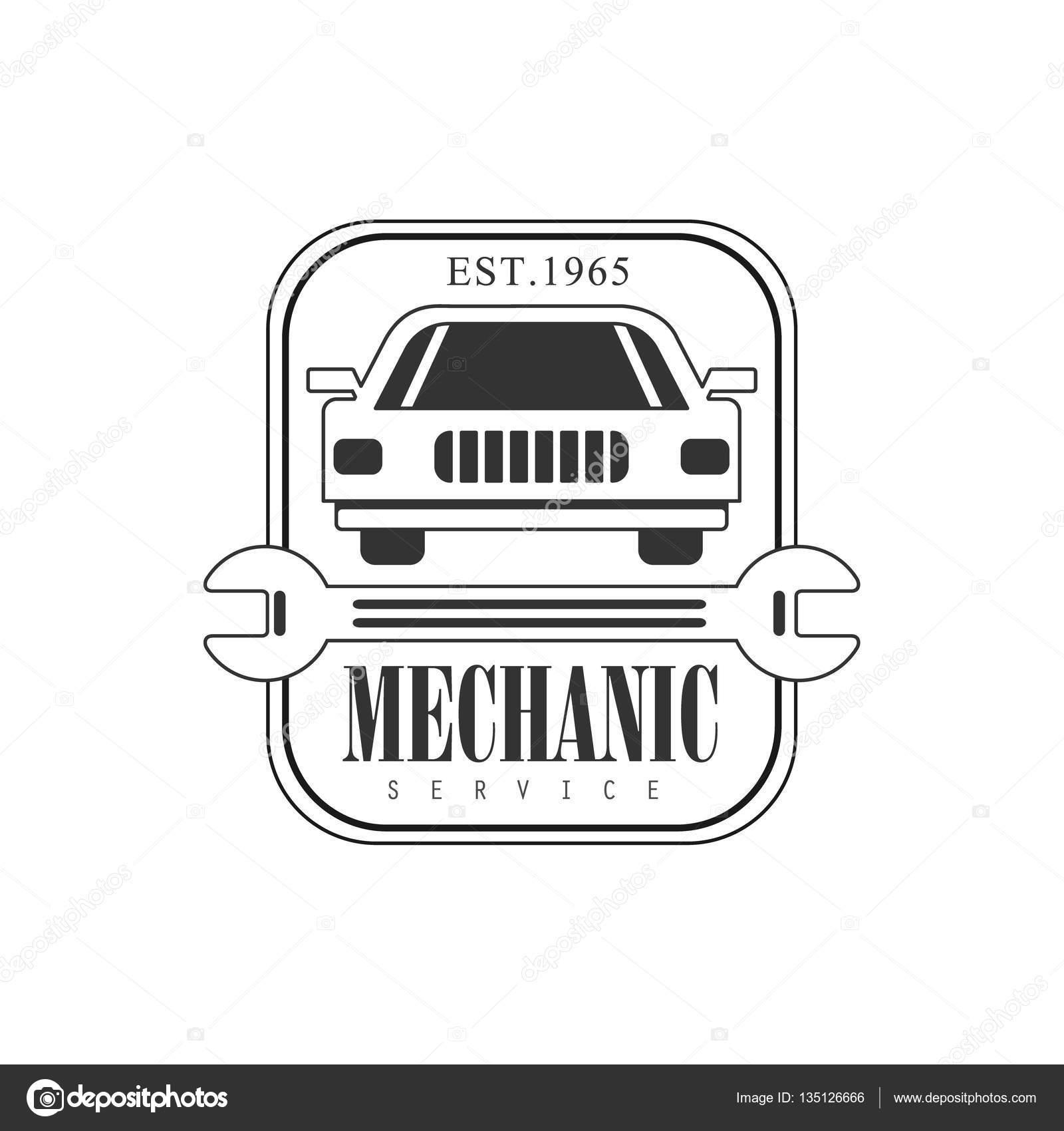 Plantilla de diseño de etiqueta coche reparación taller blanco y ...