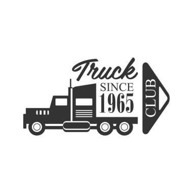 Heavy Trucks Company Club Logo Black And White Design Template With Calligraphic Text
