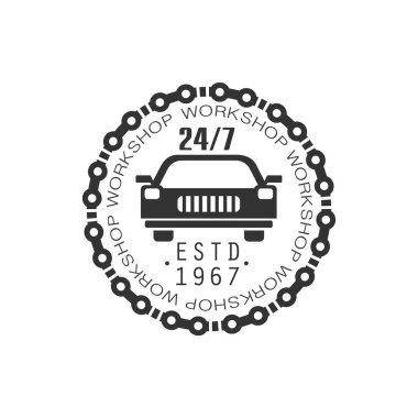 Round The Clock Car Repair Workshop Black And White Label Design Template
