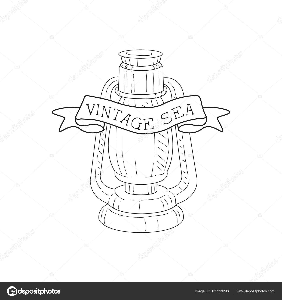 Öl-Lampe Vintage Meer und nautischen Symbol Hand gezeichnete Skizze ...