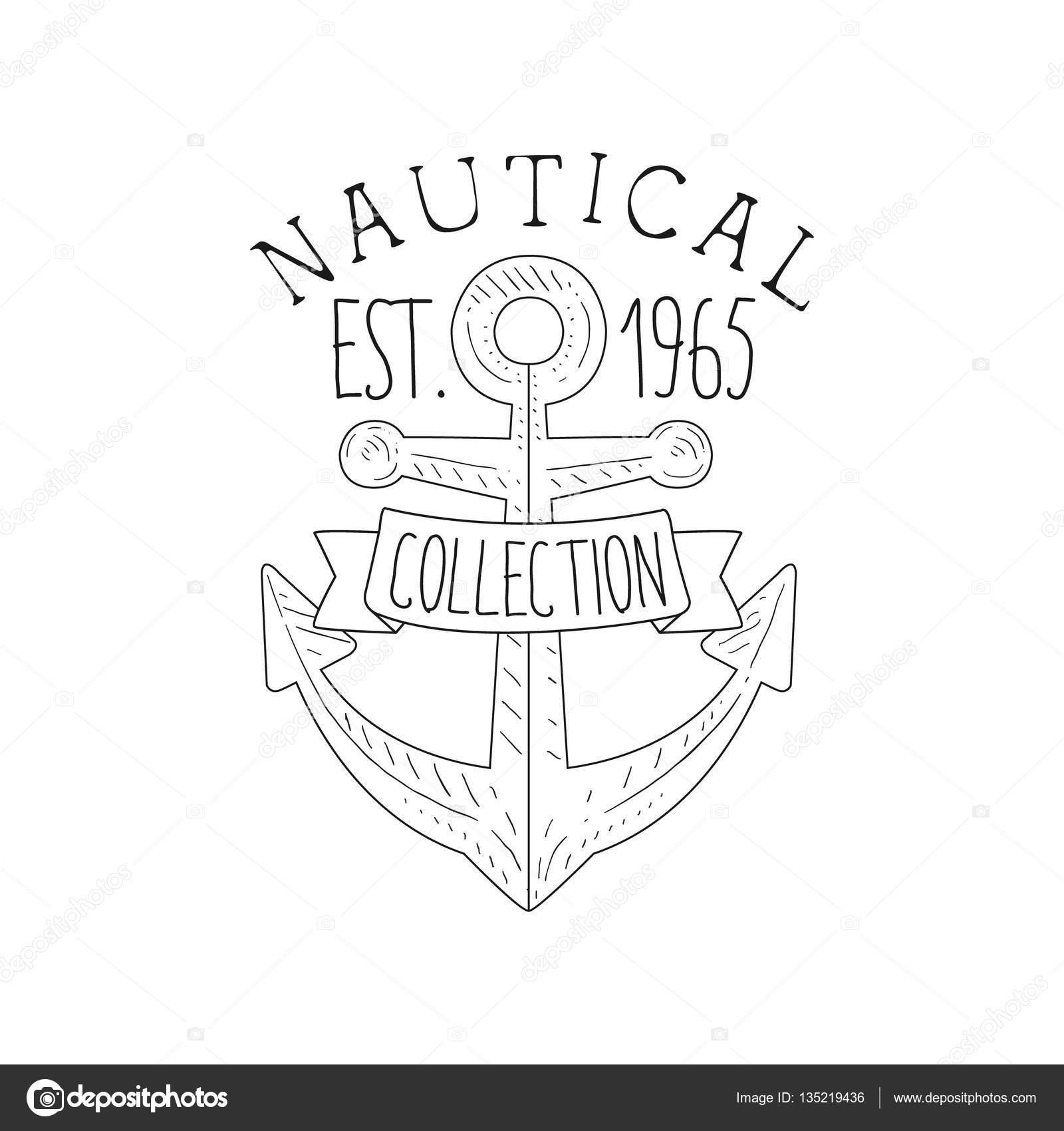 Boot Anker Vintage Meer und nautischen Symbol Hand gezeichnete ...