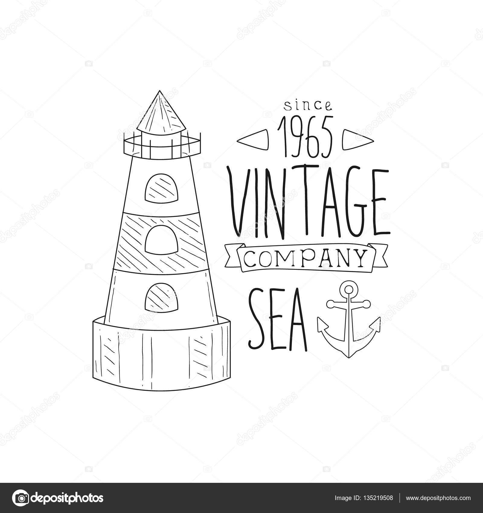 Anker und Leuchtturm Vintage Meer und nautischen Symbol Hand ...