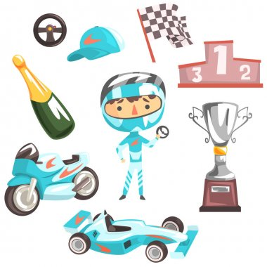 Boy Speed Racer, Kids Future Dream Professional Occupation Illustration With Related To Profession Objects