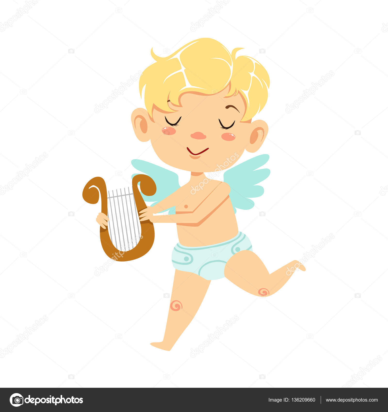 boy baby cupid with lira winged toddler in diaper adorable love symbol cartoon character - Toddler Cartoon Characters