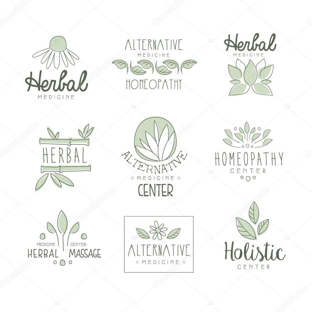 Alternative Medicine Center With Oriental Herbal Treatment And Holistic Massage Procedures Set OF Label Templates