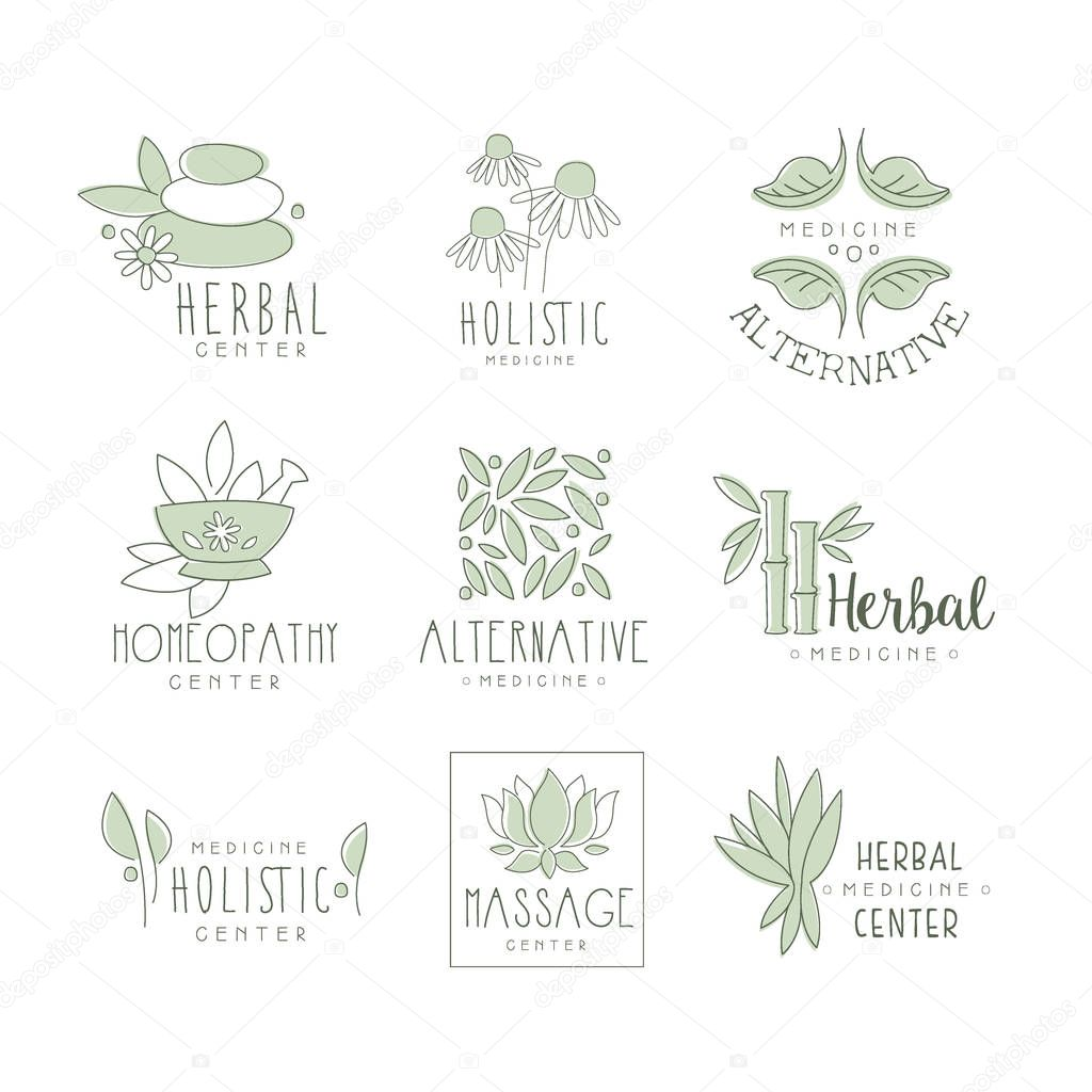 Alternative Medicine Center With Oriental Herbal Treatment And Holistic Massage Procedures Collection Of Label Templates
