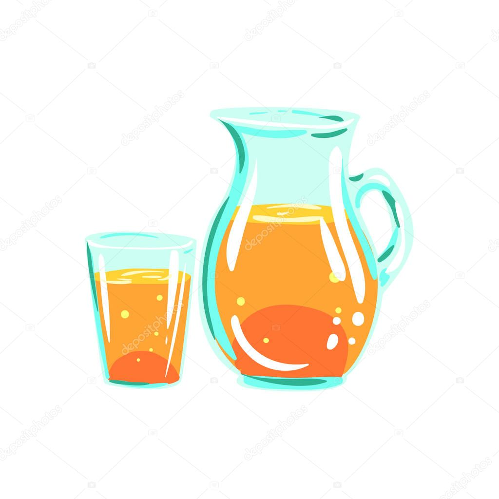 Apple Juice Pitcher And Glass Funky Hand Drawn Fresh Fruit Cartoon Illustration
